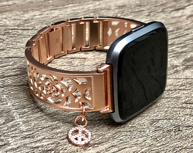 Rose Gold Fitbit Versa Band Woman Handmade Fitbit Versa Band CZ Peace Medallion Bracelet Adjustable Fitbit Versa Bangle Links Fitbit Jewelry