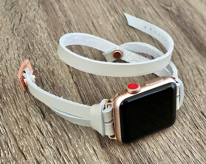 Gray Leather Apple Watch Band 38mm 40mm 42mm 44mm Rose Gold Apple Watch Bracelet Adjustable Size Double Wrap Rose Gold iWatch Bracelet