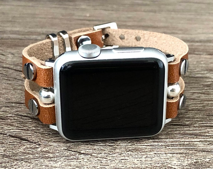 Apple Watch Band 38mm 40mm 42mm 44mm Women Style Apple Watch Strap Leather Band Bronze Leather & Silver Apple Watch Bracelet Jewelry Strap