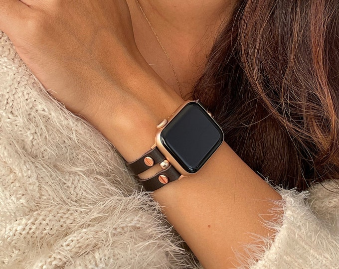 Brown Apple Watch Leather Bracelet 38mm 40mm 42mm 44mm Rose Gold Apple Watch Band Women iWatch Leather Strap Jewelry Apple Watch Wristband
