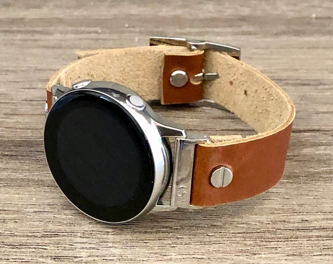 Samsung Galaxy Watch 42mm Band Bronze Brown Leather Galaxy Watch Active Band Samsung Galaxy Watch Active2 40mm - 44mm Silver Watch Band
