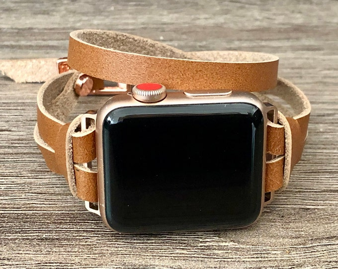 Rose Gold Apple Watch Band 38mm 40mm 42mm 44mm Bronze Leather Apple Watch Bracelet iWatch Strap Band Double Wrap Apple Watch Wristband