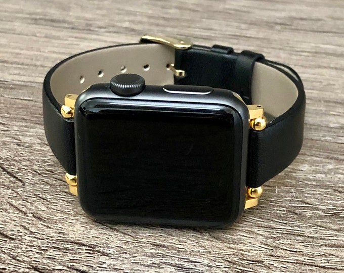 Black Leather & Gold Apple Watch Band 38mm 40mm 42mm 44mm Slim Vegan Leather Apple Watch Band Adjustable Soft Leather Wristband iWatch Strap