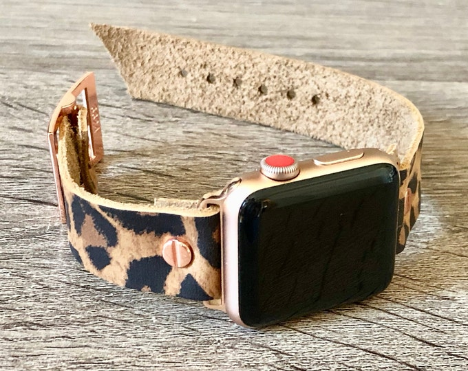 Leather Apple Watch Bracelet 38mm 40mm 42mm 44mm Rose Gold iWatch Band Adjustable Size Wristband Leopard Print iWatch Cuff Leather Band