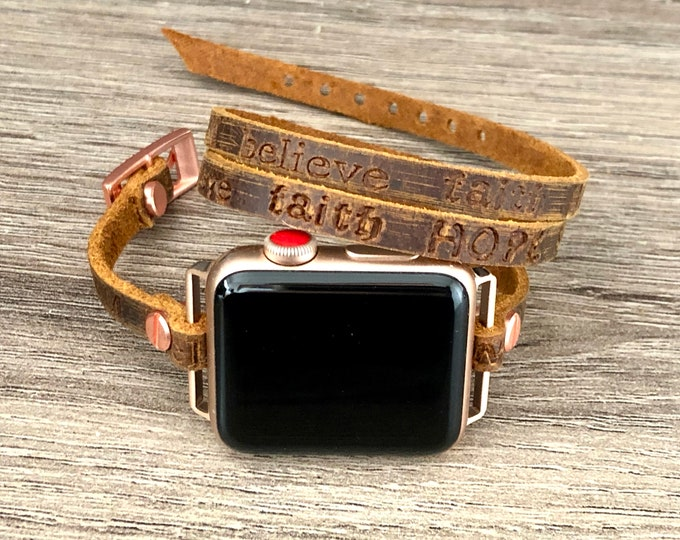 Vintage Brown Apple Watch Band 38mm 40mm 42mm 44mm Embossed Strap Apple Watch Leather Bracelet Rose Gold & Rustic Leather Apple Watch Band