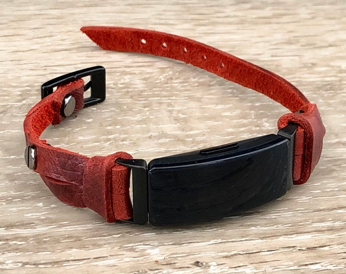 Red Leather & Black Fitbit Inspire HR Band Fitbit Inspire Bracelet Strap Fitbit Inspire Wristband Adjustable Fitbit Leather Jewelry Band