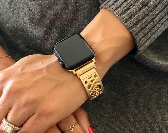 Gold Apple Watch Band 38mm 40mm Women Apple Watch 42mm 44mm Jewelry Brushed  Adjustable Apple Watch Jewelry Band Gold Tree of Life Medallion