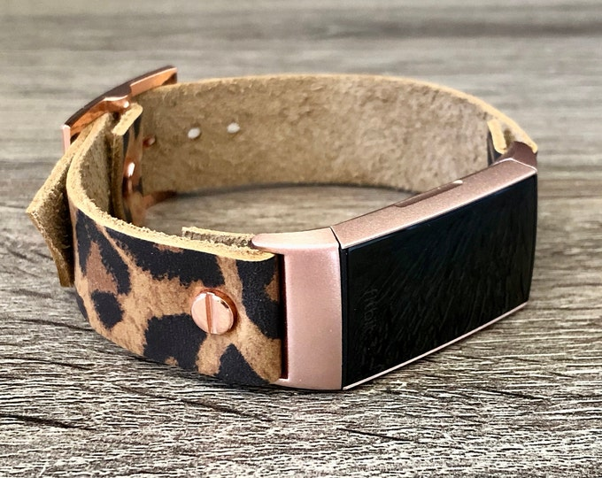 Rose Gold & Leopard Print Leather Fitbit Charge 4 Band Women Fitbit Wristband Genuine Leather Strap Adjustable Fitbit Charge 4 Bracelet