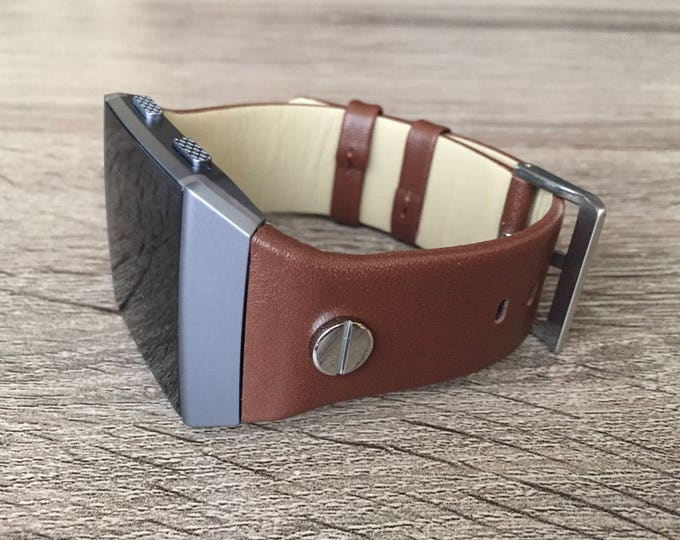 Brown Vegan Leather Bracelet for Fitbit Ionic Smart Watch Adjustable Size Replacement Wristband Handmade Jewelry Band with Silver Rivets