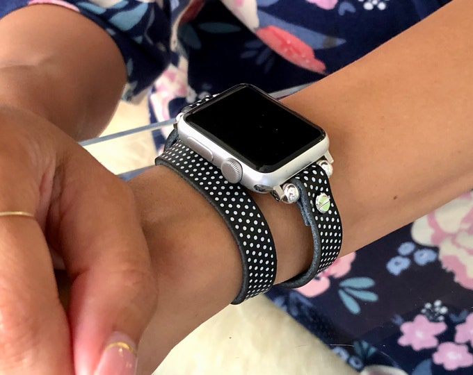 Polka Dots Apple Watch Band Women 38mm 40mm 42mm 44mm Double Wrap Leather iWatch Band Apple Watch Strap Adjustable Apple Watch Bracelet