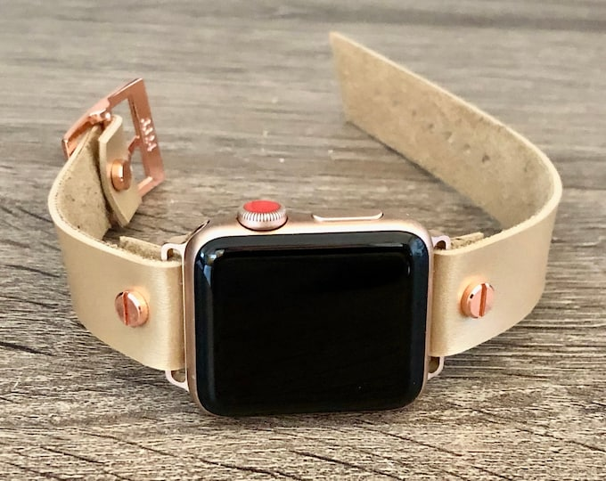 Latte Color Leather Apple Watch Band 38mm 40mm 42mm 44mm iWatch Eco-Friendly Bracelet Adjustable Size Vegan Wristband Rose Gold Watch Band