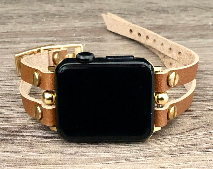 Gold Apple Watch Band 38mm 40mm 42mm 44mm Apple Watch Bronze Strap Leather Bracelet Women iWatch Band Apple Watch Cuff Wristband Jewelry