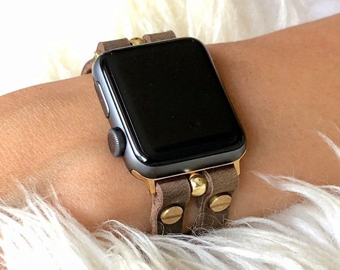 Rustic Brown Leather Apple Watch Band 38mm 40mm 42mm 44mm iWatch Bracelet Slim Apple Watch Straps Band Adjustable Apple Watch Wristband