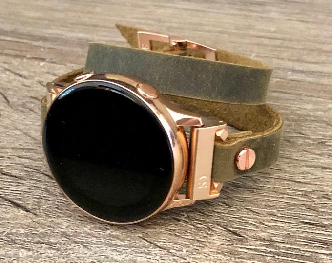 Samsung Galaxy Watch Band Vintage Olive Leather Galaxy Watch 42mm Band Samsung Galaxy Watch Active 40mm Rose Gold & Leather Strap Bracelet