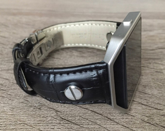 Black Leather Bracelet for Fitbit Blaze Smart Fitness Watch Handmade Fitbit Blaze Band with Silver Frame & Rivets Alligator Skin Look Design