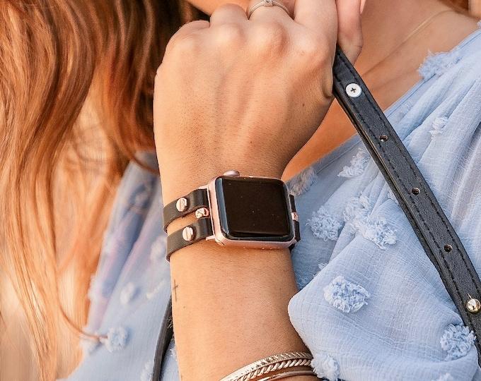 Italian Leather Apple Watch Bracelet 38mm 40mm 42mm 44mm Rose Gold Apple Watch Band Dark Brown Wristband Women Style iWatch Strap Jewelry