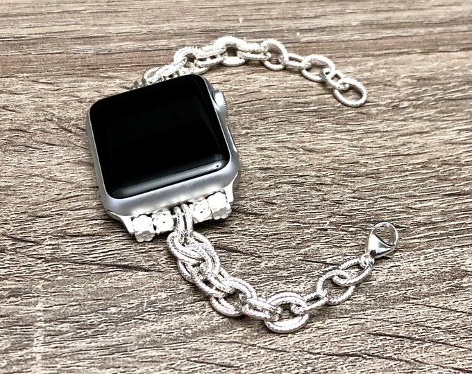 Dressy Silver Chain Apple Watch Band Women Style 38mm 40mm 42mm 44mm Silver Metal Apple Watch 4 Band Adjustable Apple Watch Jewelry Bracelet
