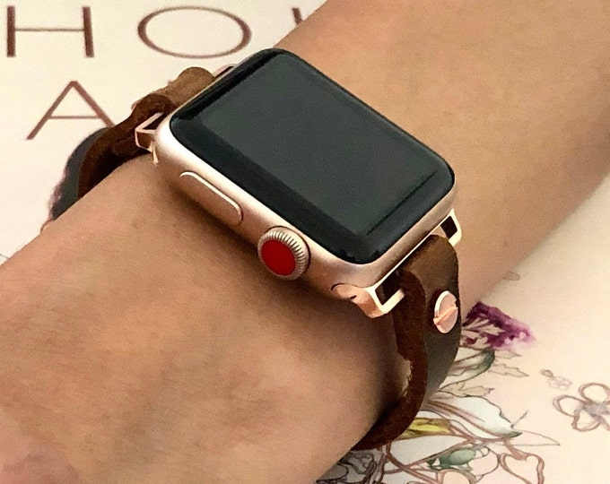 Apple Watch Band 38mm 40mm 42mm 44mm Leather Bracelet Rose Gold iWatch Band Women Apple Watch Jewelry Bracelet iWatch Leather Strap Bracelet