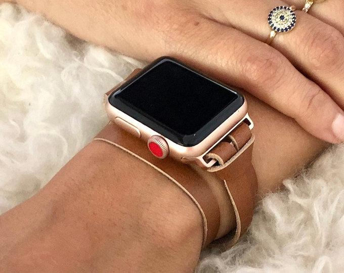 Women Rose Gold & Brown Leather Apple Watch Band 38mm 40mm 42mm 44mm Apple Watch Strap iWatch Bracelet Leather Apple Watch Wristband