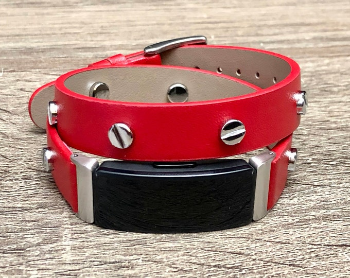 Red Fitbit Inspire HR Band, Vegan Leather Fitbit Inspire HR Strap, Fitbit Inspire HR Bracelet, Adjustable Fitbit Inspire Wristband Jewelry