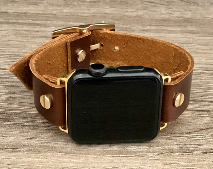 Leather Apple Watch Band 38mm 40mm 42mm 44mm iWatch Bracelet Series 5 4 3 2 1 Gold iWatch Band Adjustable Chocolate Color Wristband Strap