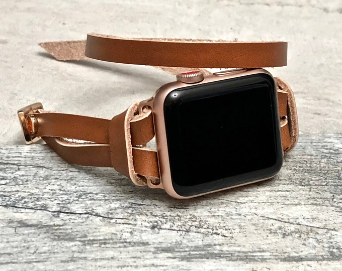 Gold & Bronze Leather Apple Watch Band 38mm 40mm 42mm 44mm  Women iWatch Band Apple Watch Strap Bracelet Brown Leather Apple Watch Wristband