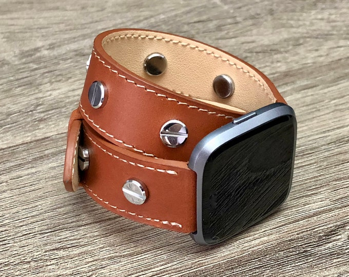 Brown  Leather Bracelet for Fitbit Versa Watch Handmade Double Wrap Fitbit Versa Band Silver Rivets Adjustable Size Fitbit Versa Bracelet