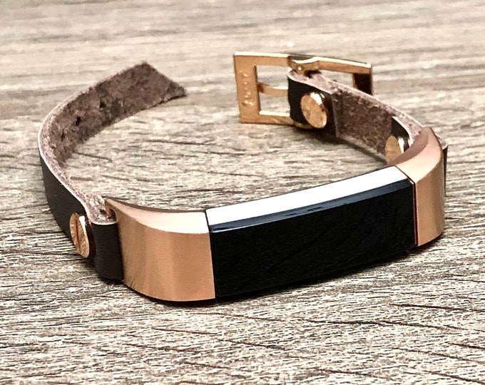 Elegant Dark Brown Leather & Rose Gold Fitbit Alta HR Band for Women Fitbit Alta HR Bracelet Fitbit Alta Jewelry Strap Fitbit Alta Band