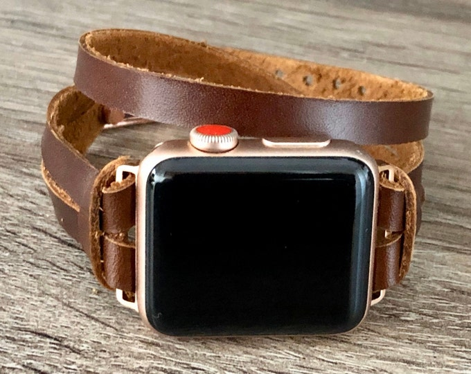 Double Wrap Apple Watch Band 38mm 40mm 42mm 44mm Bracelet Women iWatch Band Caramel Color Leather Apple Watch Wristband Dainty Jewelry