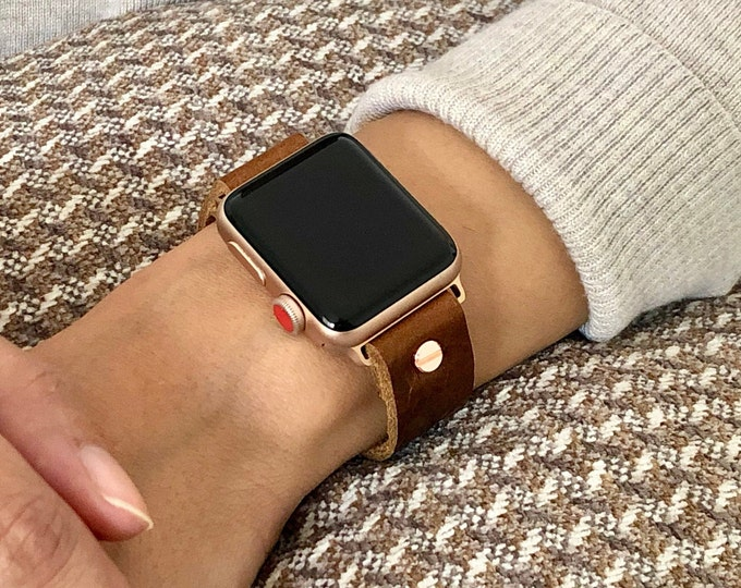 Rose Gold Apple Watch Band 38mm 40mm 42mm 44mm Women iWatch Bracelet Adjustable Grain Leather Wristband Minimalist Rose Gold Watch Band