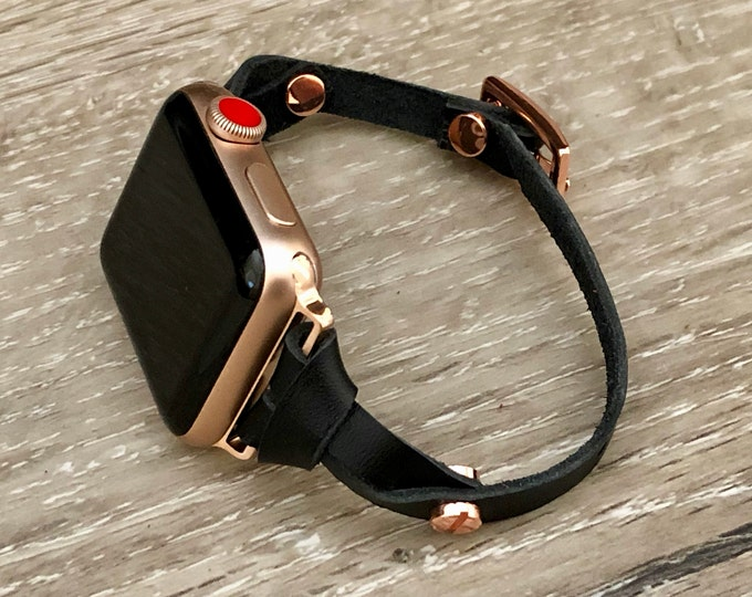 Black Leather Bracelet for Apple Watch Pink Rose Gold Slim iWatch Band Apple Watch Band 38mm 40mm Women iWatch Strap Apple Watch 42mm 44mm