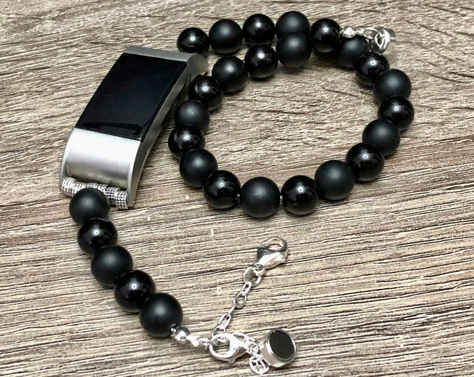 Onyx Beads Fitbit Charge 2 Band Double Wrap Bracelet Handcrafted Fitbit Charge 2 Bracelet Luxury Fitbit Band Jewelry Silver Fitbit Bracelet