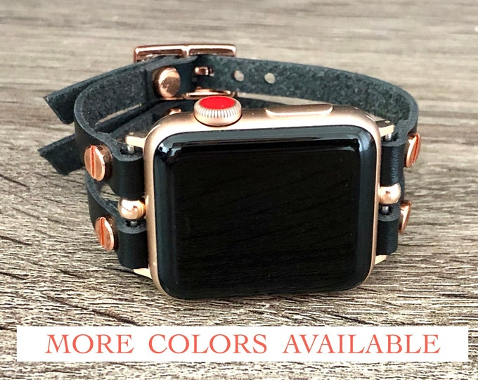 Rose Gold Apple Watch Band 38mm 40mm 42mm 44mm Leather Apple Watch Strap Bracelet Women iWatch Band Jewelry Apple Watch Cuff Wristband Black