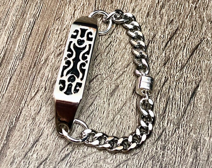 Stainless Steel Bracelet with Sterling Silver Magnet for Fitbit Flex 2 Tracker Elegant Handmade Fitbit Flex 2 Links Band Jewelry Mom Gift