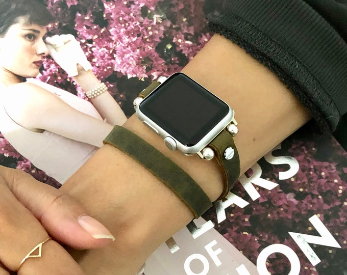 Olive Leather Apple Watch Bracelet 38mm 40mm 42mm 44mm Women Apple Watch Band Silver Apple Watch Wristband Rustic Brown Leather Strap Band