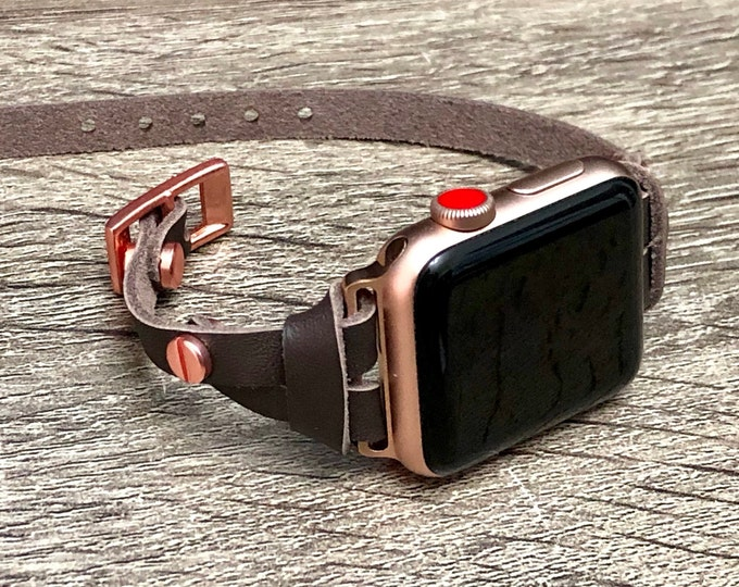 Dark Brown Leather Apple Watch Band Strap Pink Rose Gold iWatch Band Apple Watch 38mm 40mm iWatch Strap Apple Watch 42mm 44mm iWatch Jewelry