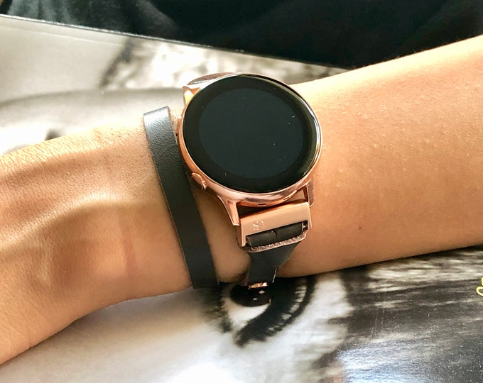 Dark Brown Leather Galaxy Watch Active Bracelet Double Wrap Women Style Rose Gold Samsung Galaxy Watch 42mm Band Jewelry Strap