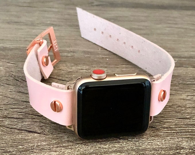 Pink Vegan Leather Rose Gold Apple Watch Band 38mm 40mm 42mm 44mm iWatch Eco-Friendly Bracelet Adjustable Wristband Rose Gold Watch Band