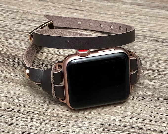 Rose Gold & Chocolate Leather Bracelet for Apple Watch 38mm 42mm iWatch Band Wrap Apple Watch Band Women Series 4 iWatch Bracelet 40mm 44mm