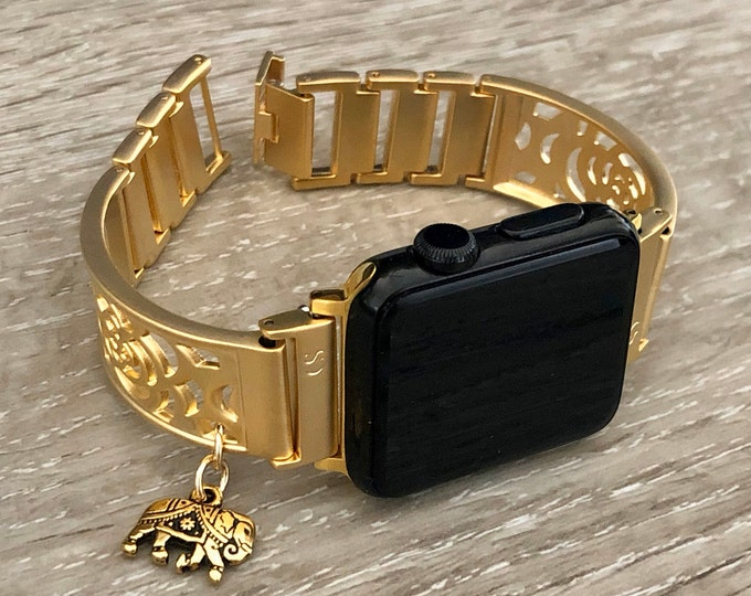 Gold Apple Watch Bracelet Adjustable Women Band Apple Watch Bangle Elephant Medallion Jewelry Gold iWatch Band  38mm 40mm 42mm 44mm Watch