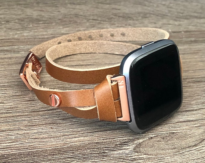 Rose Gold Fitbit Versa Watch Band Leather Fitbit Versa Watch Strap Double Wrap Bronze Leather & Rose Gold Fitbit Versa Bracelet Jewelry