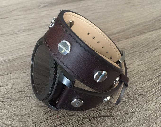Handmade Dark Brown Double Wrap Leather Band for Samsung Gear S3 Classic & Gear S 3 Frontier Smartwatch Strap Multiple Silver Metal Rivets