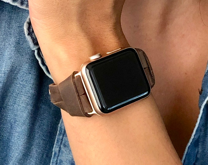 Rose Gold & Rustic Brown Leather Apple Watch Band 38mm 40mm 42mm 44mm iWatch Strap Women Apple Watch Bracelet Slim Leather Wristband Jewelry