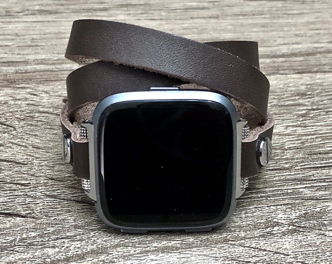 Graphite Leather Fitbit Versa Band Multi Wrap Bracelet for Fitbit Versa Watch Adjustable Fitbit Versa Bracelet Soft Genuine Leather Band