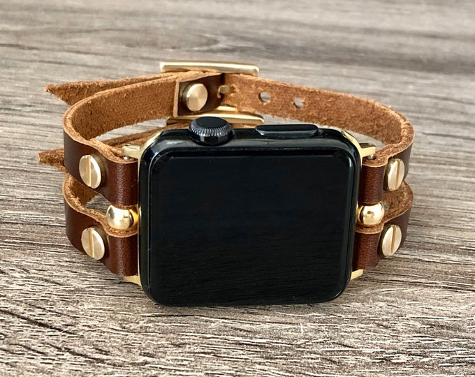 Gold Apple Watch Band 38mm 40mm 42mm 44mm Lather Apple Watch Women Bracelet iWatch Band Brown Apple Watch Wristband Adjustable Size Bracelet