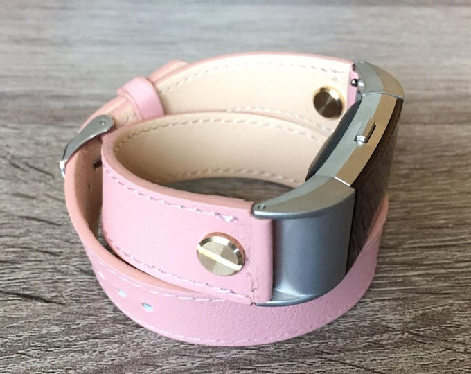 Fashion Double Wrapped Pink Eco Friendly Leather Bracelet For Fitbit Charge 2 With Gold  Screw Rivets Elegant Handmade Design