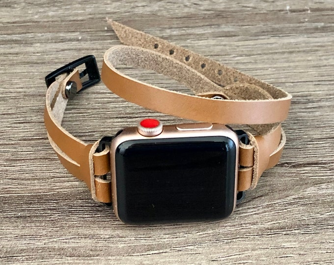 Space Gray Apple Watch Band 38mm 40mm 42mm 44mm Women Apple Watch Bracelet iWatch Band Double Tour Light Brown Leather Apple Watch Wristband