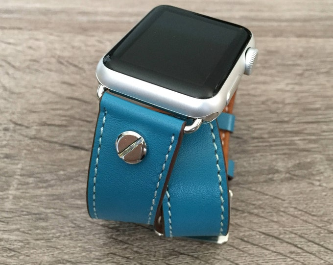 Elegant Blue Bracelet for Apple Watch All Series Vegan Handmade Double Wrap Leather Silver Rivets Wristband Multi Wrap Apple Watch Band Gift