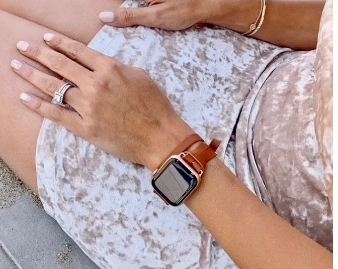 Light Brown Leather Apple Watch Band 38mm 40mm 42mm 44mm Rose Gold Apple Watch Strap Double Wrapped Slim iWatch Bracelet Women Wristband