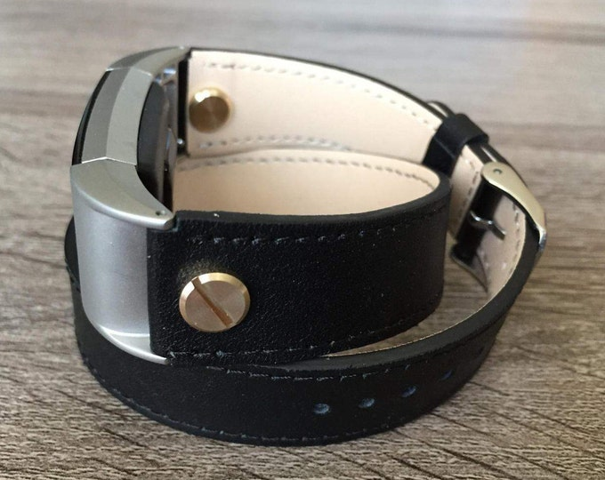 Elegant Black Double Wrapped Eco Friendly Leather Bracelet For Fitbit Charge 2 With Gold Rivets Handmade Replacement Fitbit Charge 2 Band